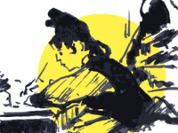 Sketched illustration of a woman writing