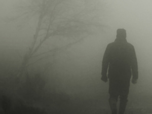photo of a dark figure emerging from a foggy forest
