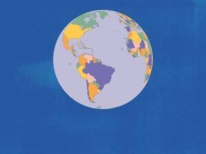 world globe in pastel colors against a blue background