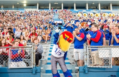 Baby Jay leads crowd at Memorial Stadium