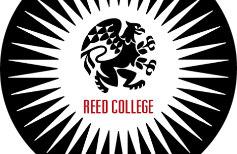 """Black circle with white starburst - black griffin in the middle above the words """"Reed College."""""""
