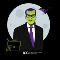 Image of Frankenstein in a suit wearing a purple tie. There is a neon green briefcase next to him. Logo reads: TCC, Tarrant County College, Success Within Reach.