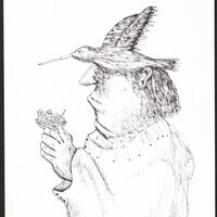 Ramon Carulla;Un Pájaro Intelectual, 2007; Pen and Ink on Paper; Gift of the artist; LUG 10 1051