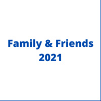 """White background with blue frame, blue text written in the middle """"Family and Friends 2021"""""""