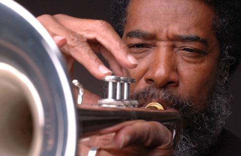 Headshot of Wadada Leo Smith playing the trumpet