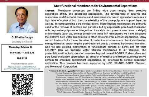 CHEG 2021 Fall Seminar Series - Professor D. Bhattacharyya (DB)