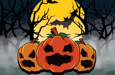 Pumpkins/Jack-O-Lanterns with black background with trees and bats