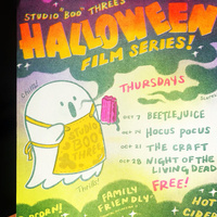 Studio Boo Three Halloween Film Series poster designed by Ash Rudolph and printed at Studio Two Three with our risograph printers