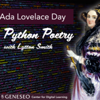 Flyer for Lytton Smith's Python Poetry workshop, picturing a portrait of Ada Lovelace.