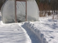 Path to a hoop house for growing winter greens