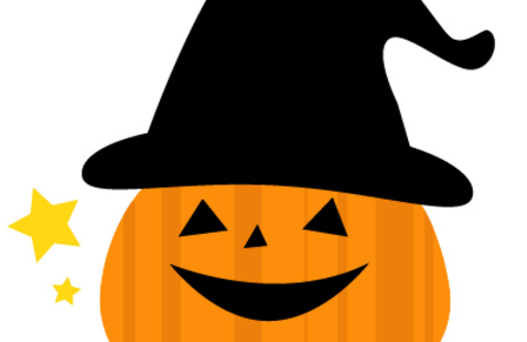 Halloween pumpkin with a black hat on and yellow stars in the picture frame