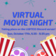 """Image description:  Graphic has a grey-purple background with blue text in the middle and dark teal sparkles against the background color.  At the bottom of the graphic is two images of popcorn cartons and two film reels. One reel has dark purple accents and purple film and the other has red accents and salmon film.  The text in the middle says: """"Virtual movie night taking place on the LGBTESS Discord Server! Sun, October 17th, 6:30 - 8:30 pm"""".  End description."""