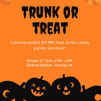 Flier for Trunk-or-Treat, Oct 17, 2021