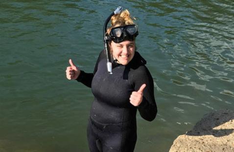Meredith Fitschen-Brown in diving gear