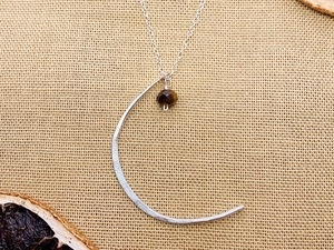 Sterling Silver or 14k Gold Fill Moon and Stone Necklace