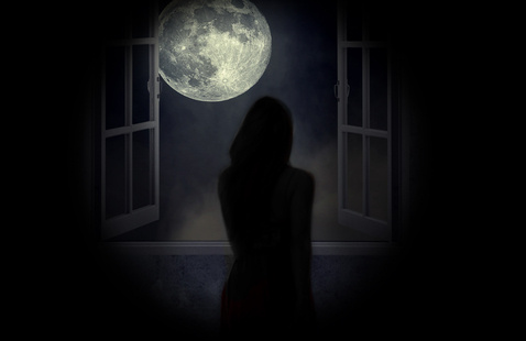 """The SUNY Oswego Theatre Department Present's """"Elsewhere"""" promotional image contains silhouette of a woman looking out a window at the full moon."""