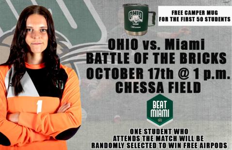 Ohio Soccer vs. Miami (Battle of the Bricks)- Free Camper Mugs for Students
