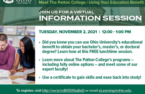 Meet The Patton College   Using Your OHIO Educational Benefit
