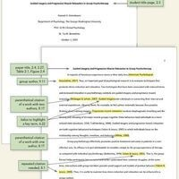 photo of a psychology paper with highlighted citations and edits