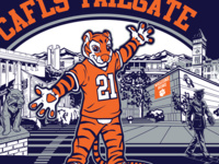 """CAFLS Tailgate t-shirt design with Clemson Tiger wearing a """"21"""" jersey."""