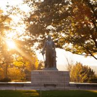 Ezra statue at sunset