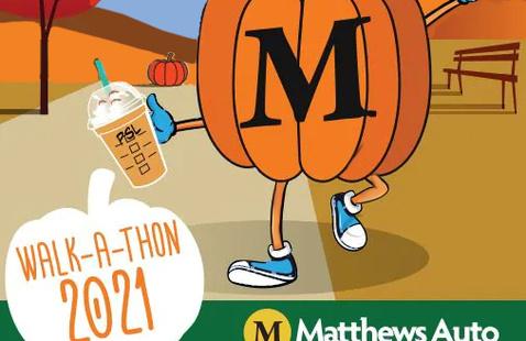 """2021 Matthews Walk-a-thon, a pumpkin with an """"M"""" on it."""