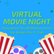 """Image description:  Graphic has a sky blue background with lime green text in the middle and dark green sparkles against the background color.  At the bottom of the graphic is two images of popcorn cartons and two film reels. One reel has red accents and purple film and the other has yellow accents and grey film.  The text in the middle says: """"Virtual movie night taking place on the LGBTESS Discord Server! Sat, October 23rd, 9 - 11 pm"""".  End description."""