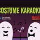 """Picture of two white ghosts with black bowties singing into a microphone with music notes floating, top has green dripping text saying """"Costume Karaoke"""" on a dark purple background."""