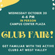 Club Fair event details on green background