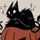 drawing of a black cat on a pumpkin
