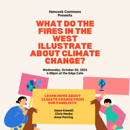 """Event Poster with the title """"What do the Fires in the West Illustrate About Climate Change?"""""""