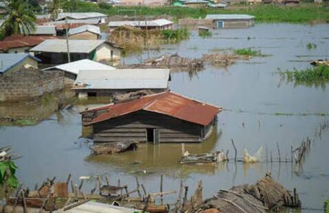Flooded housing in the Ghana region.