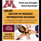 Poster for online information session about the University of Minnesota master of nursing program, November 4 or December 2, from 12 to 1 p.m.