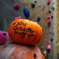 Decorated pumpkin at climbing wall