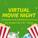 """Image description:  Graphic has a green background with yellow text in the middle and pale green sparkles against the background color.  At the bottom of the graphic is two images of popcorn cartons and two film reels. One reel has black accents and grey film and the other has teal accents and light blue film.  The text in the middle says: """"Virtual movie night taking place on the LGBTESS Discord Server! Sun, October 31st, 2:30 - 4:30 pm"""".  End description."""