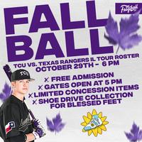 Baseball Fall Ball Game vs Texas Rangers IL Tour Roster