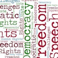 """word cloud with text: """"democracy, freedom, hate speech, rights, challenge, speech, expression, human rights"""""""