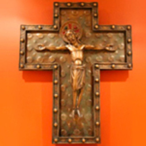 Cross on orange background