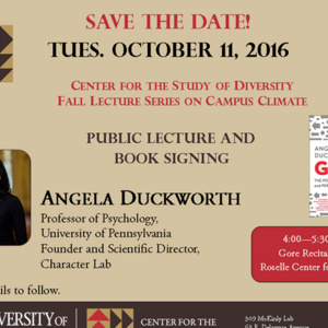 Angela Duckworth Public Lecture and Book Signing