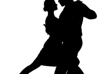 Two tango dancers in silhouette