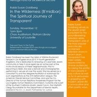 "Rabbi Susan Goldberg speaks on ""In the Wilderness (B'midbar): The Spiritual Journey of 'Transparent'."""