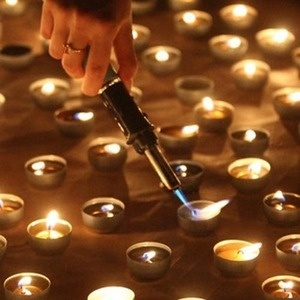 Lighting candles during Earth Hour