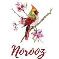 Colorful bird perched branch with Norooz text underneath