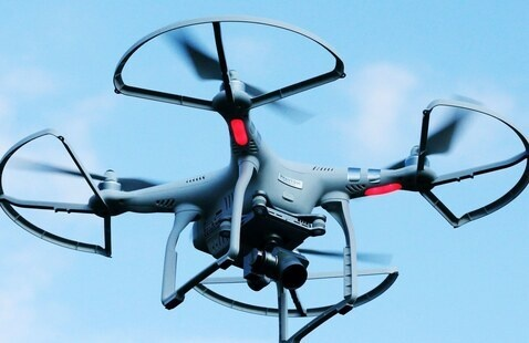 Drones Flying High in the Sky