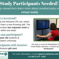NU student volunteers needed for motor learning research study in the Rehabilitation Games & Virtual Reality Lab!