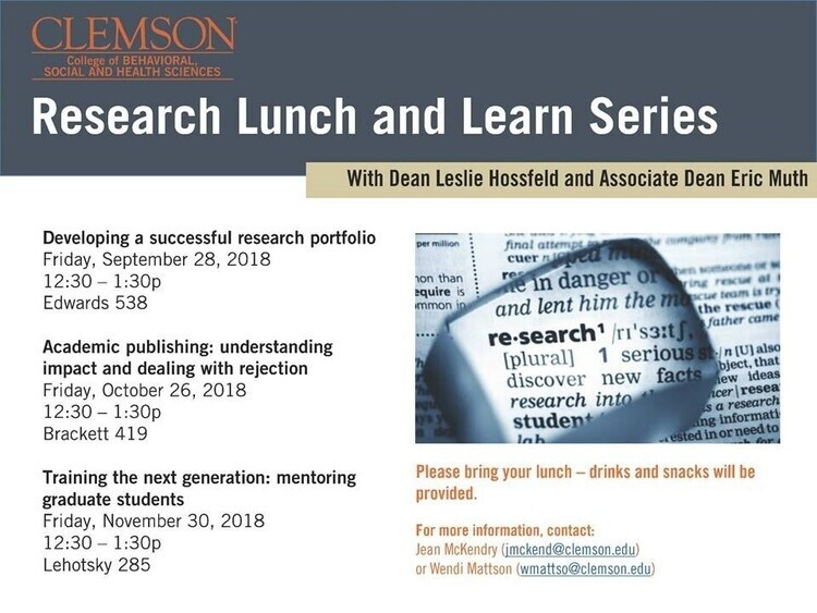 CBSHS Research Lunch and Learn: Training the next generation:  mentoring graduate students