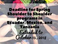 Application Deadline for Spring 2019 Shoulder to Shoulder Program