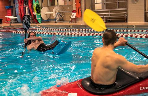 Kayak night at the pool