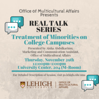 Real Talk Series: Treatment of Minorities on College Campuses | Multicultural Affairs