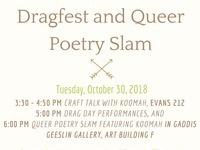 SHSU Pride Month Craft Talk, Dragfest, Queer Poetry Slam & Performance with Koomah